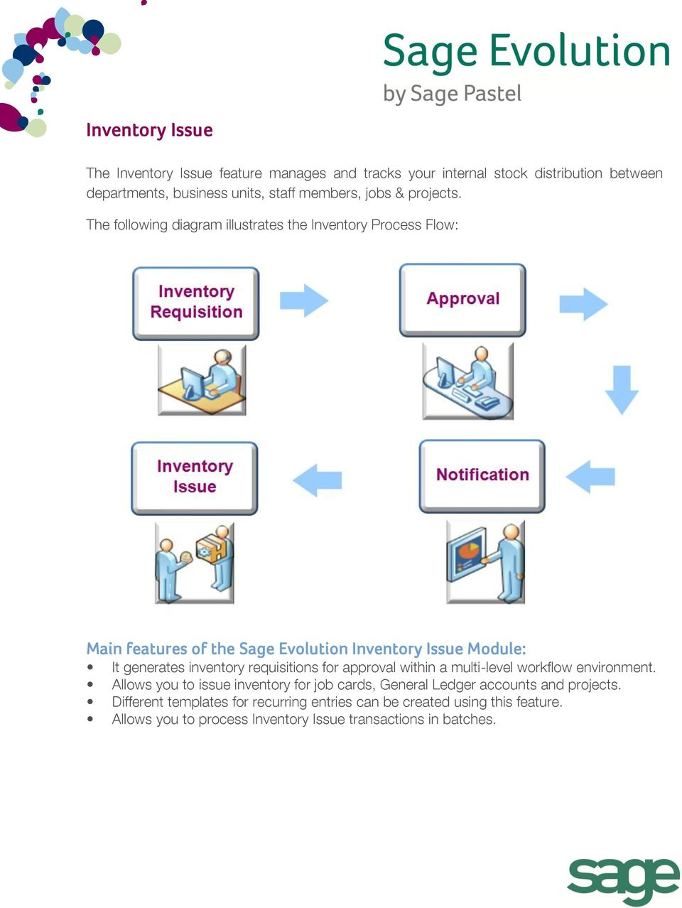 The following diagram illustrates the Inventory Process Flow: Main features of the Sage Evolution Inventory Issue Module: It generates inventory