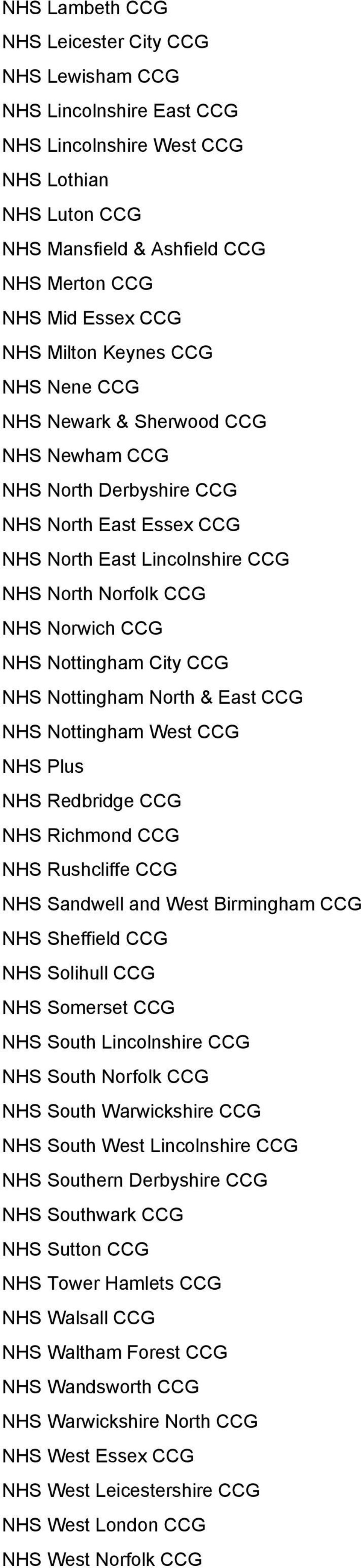Nottingham City CCG NHS Nottingham North & East CCG NHS Nottingham West CCG NHS Plus NHS Redbridge CCG NHS Richmond CCG NHS Rushcliffe CCG NHS Sandwell and West Birmingham CCG NHS Sheffield CCG NHS