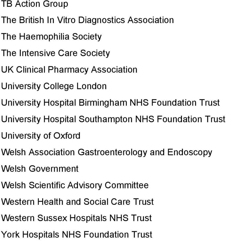 Southampton NHS Foundation Trust University of Oxford Welsh Association Gastroenterology and Endoscopy Welsh Government Welsh