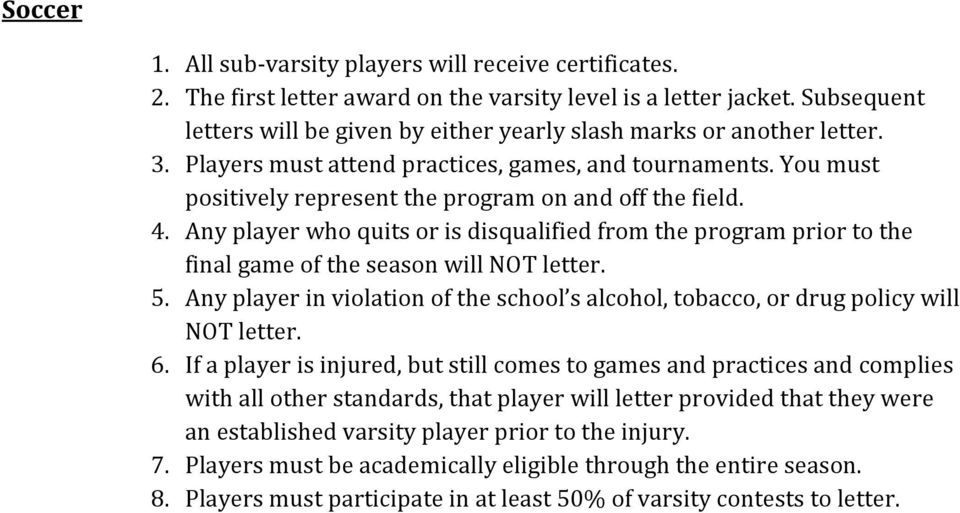 You must positively represent the program on and off the field. 4. Any player who quits or is disqualified from the program prior to the final game of the season will NOT letter. 5.