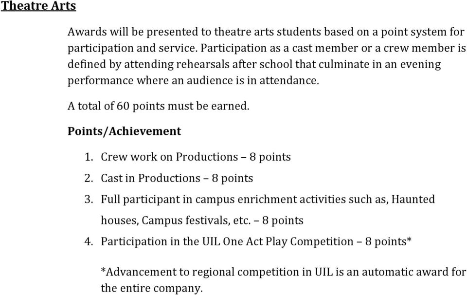 attendance. A total of 60 points must be earned. Points/Achievement 1. Crew work on Productions 8 points 2. Cast in Productions 8 points 3.
