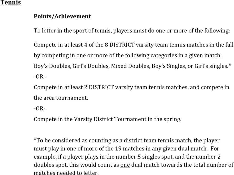 * OR Compete in at least 2 DISTRICT varsity team tennis matches, and compete in the area tournament. OR Compete in the Varsity District Tournament in the spring.
