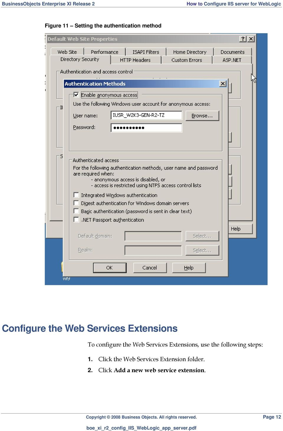 steps: 1. Click the Web Services Extension folder. 2.