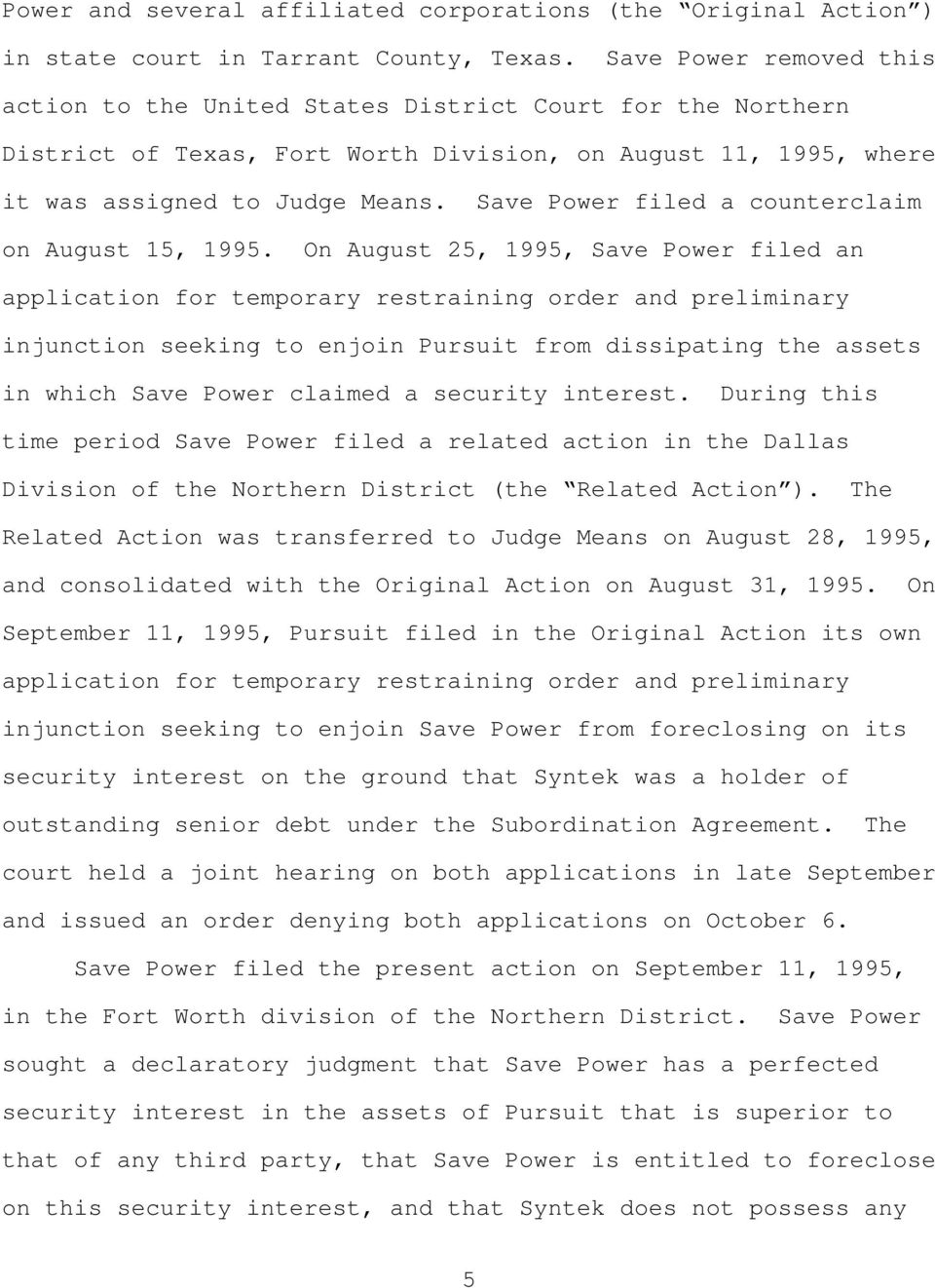 Save Power filed a counterclaim on August 15, 1995.