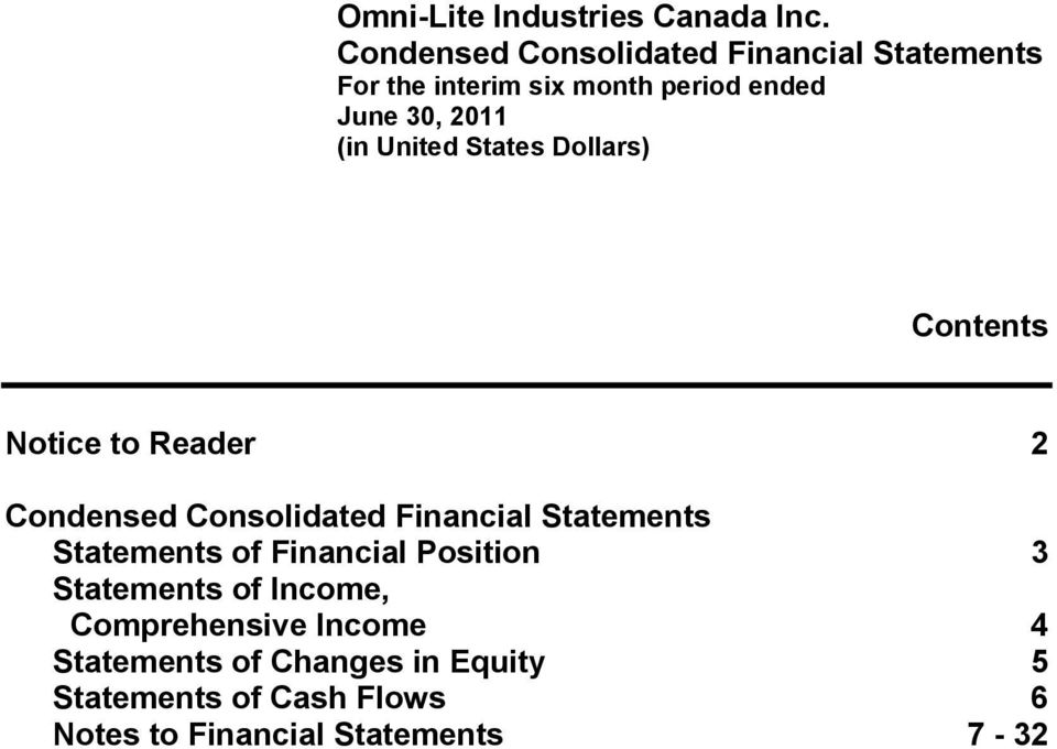 Statements of Financial Position 3 Statements of Income, Comprehensive Income 4