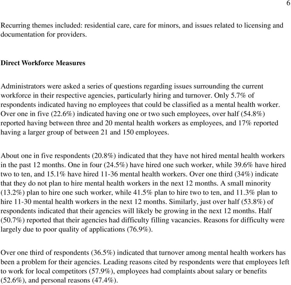 7% of respondents indicated having no employees that could be classified as a mental health worker. Over one in five (22.6%) indicated having one or two such employees, over half (54.