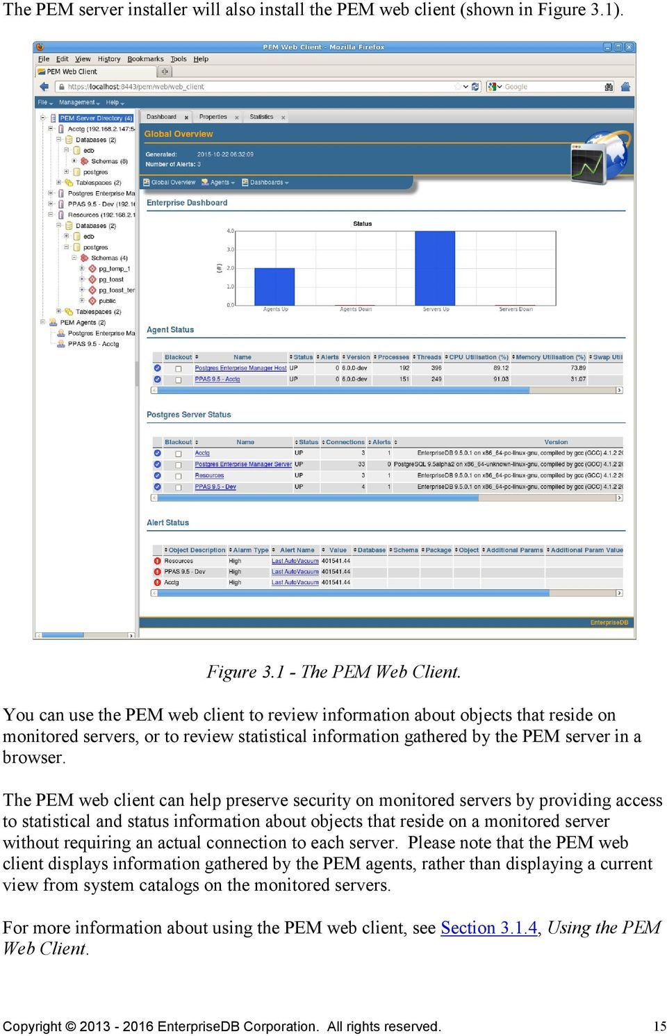 The PEM web client can help preserve security on monitored servers by providing access to statistical and status information about objects that reside on a monitored server without requiring an