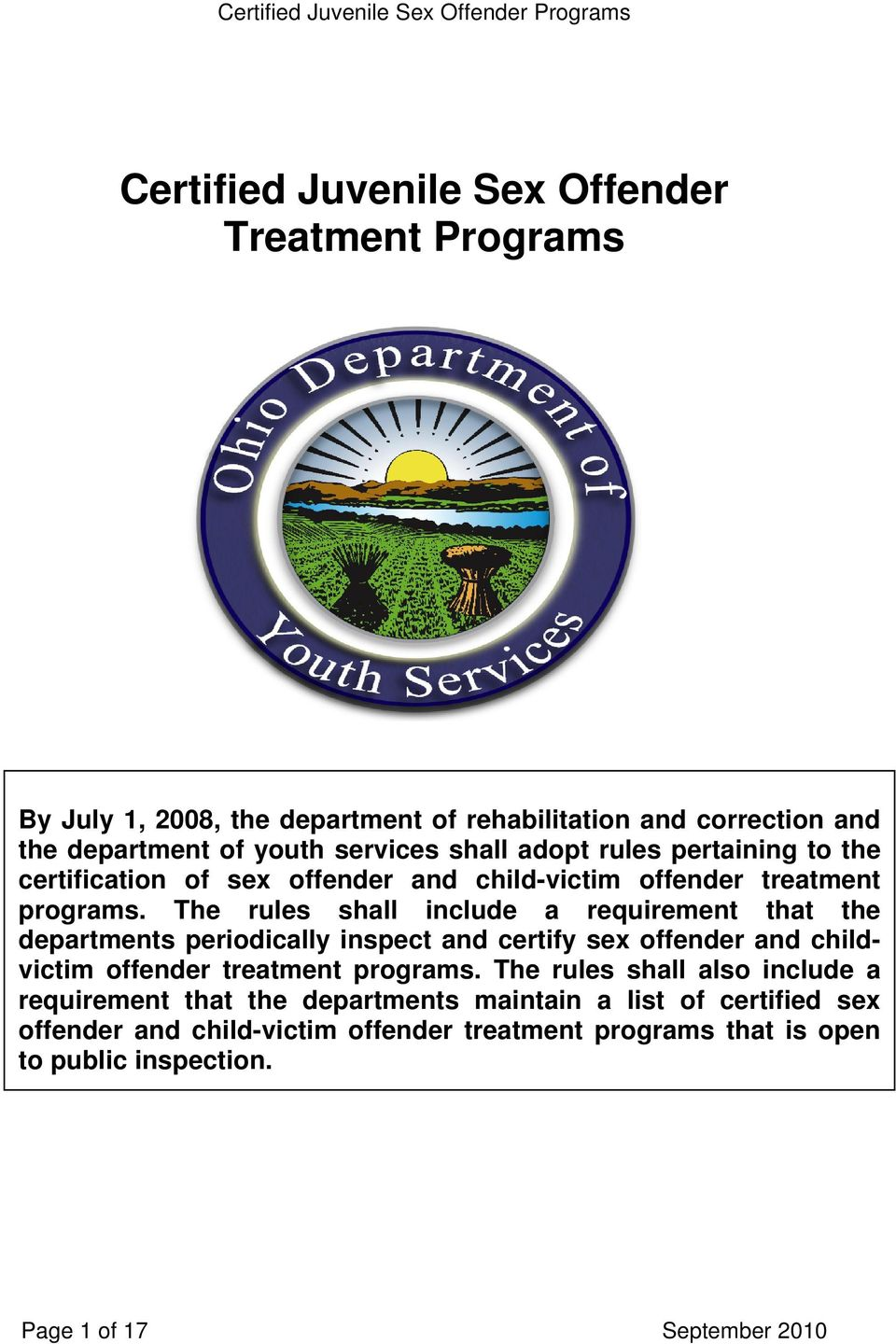 Certification in sex offender treatment