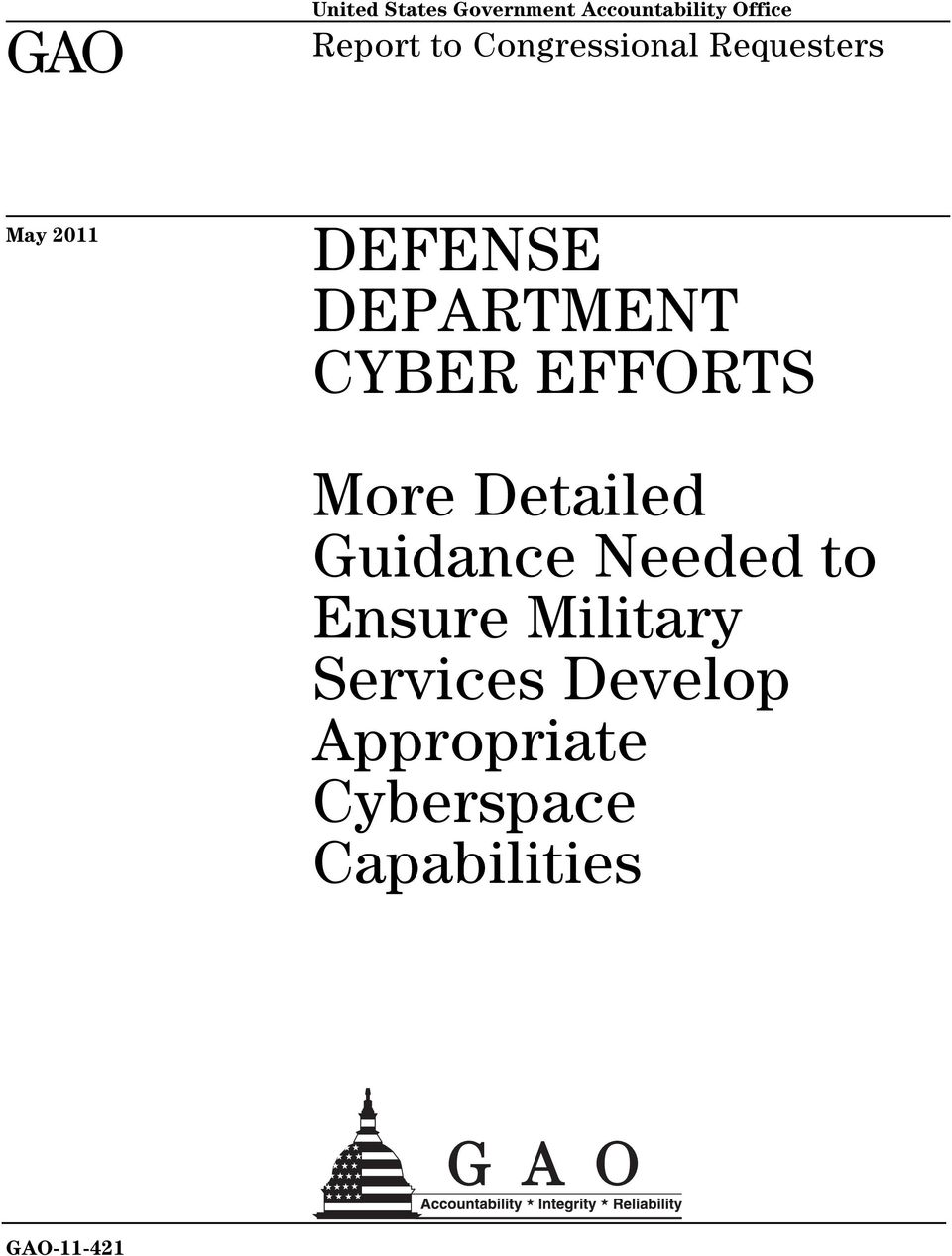 CYBER EFFORTS More Detailed Guidance Needed to Ensure