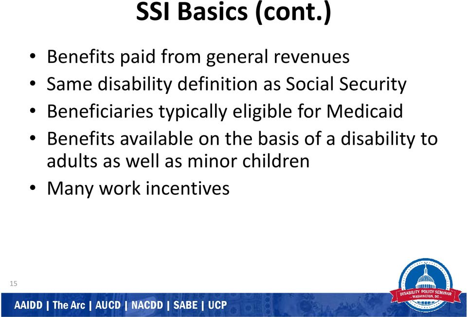 definition as Social Security Beneficiaries typically eligible