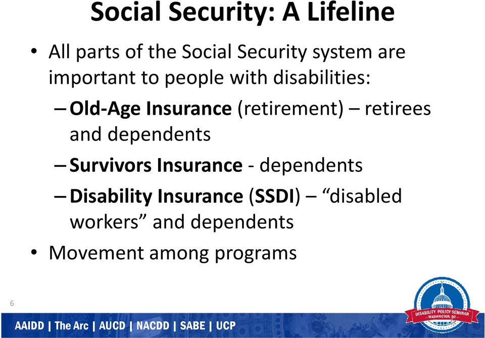 (retirement) retirees and dependents Survivors Insurance dependents
