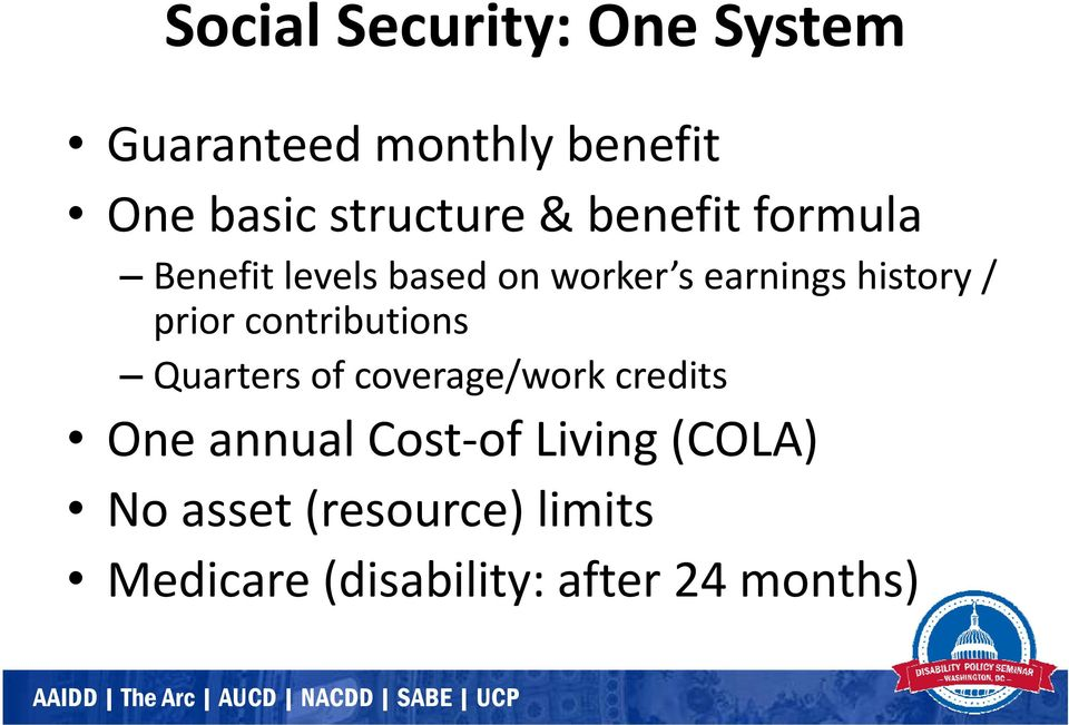 prior contributions Quarters of coverage/work credits One annual Cost of