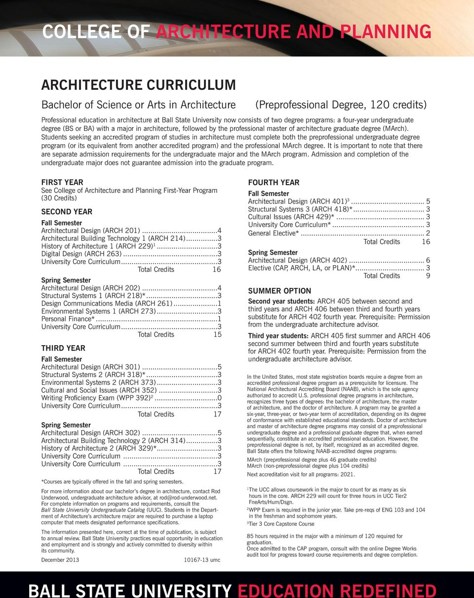 Students seeking an accredited program of studies in architecture must complete both the preprofessional undergraduate degree program (or its equivalent from another accredited program) and the
