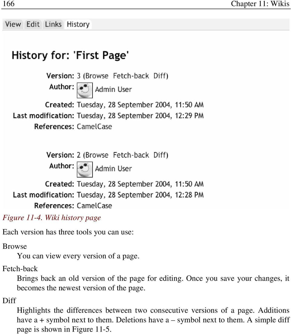 Fetch-back Brings back an old version of the page for editing.