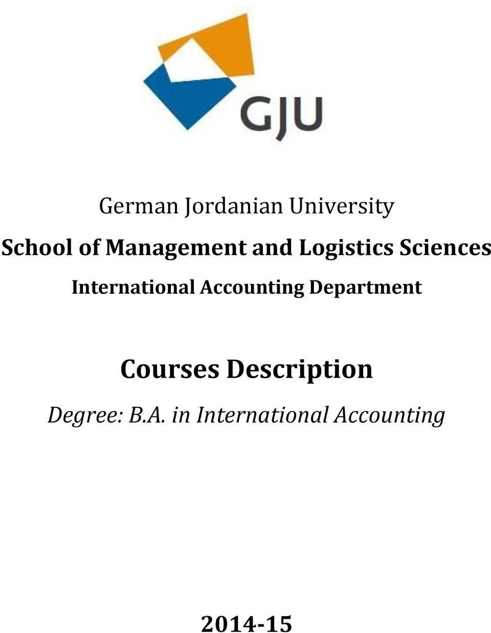 International Accounting Department Courses