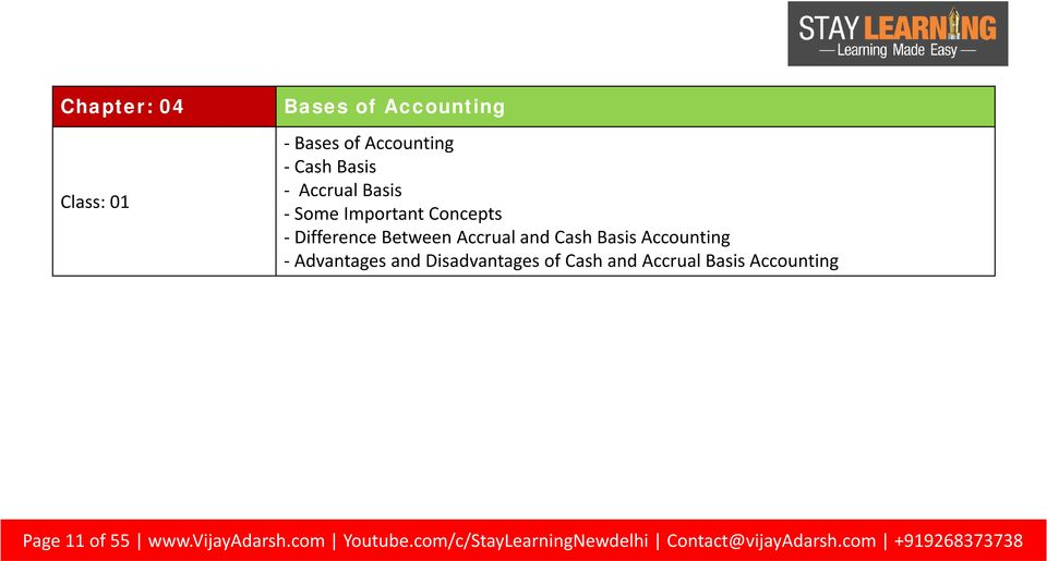 - Advantages and Disadvantages of Cash and Accrual Basis Accounting Page 11 of 55 www.