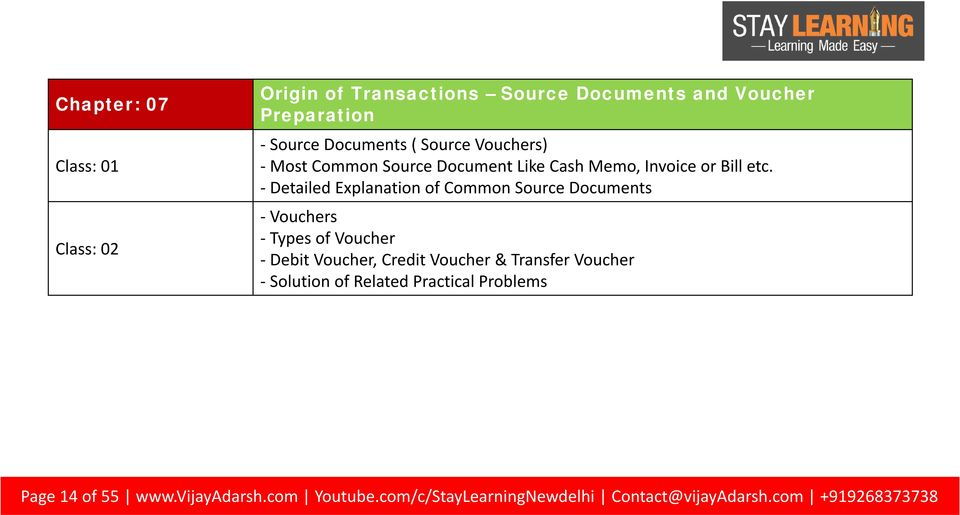 - Detailed Explanation of Common Source Documents - Vouchers - Types of Voucher - Debit Voucher, Credit