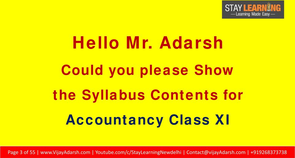 Contents for Accountancy Class XI Page 3 of 55