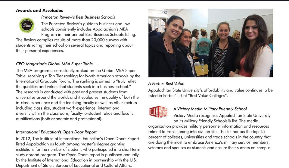 CEO Magazine's Global MBA Super Table The MBA program is consistently ranked on the Global MBA Super Table, receiving a Top Tier ranking for North American schools by the International Graduate Forum.