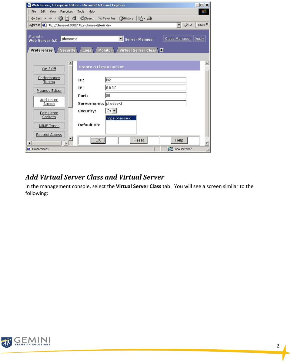 select the Virtual Server Class tab.