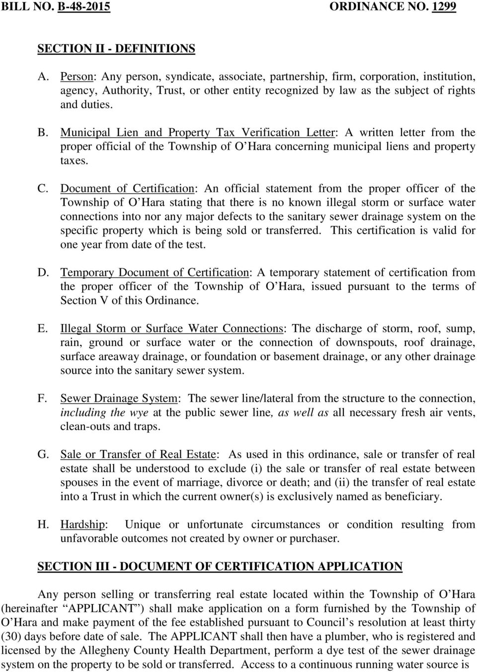 Municipal Lien and Property Tax Verification Letter: A written letter from the proper official of the Township of O Hara concerning municipal liens and property taxes. C.