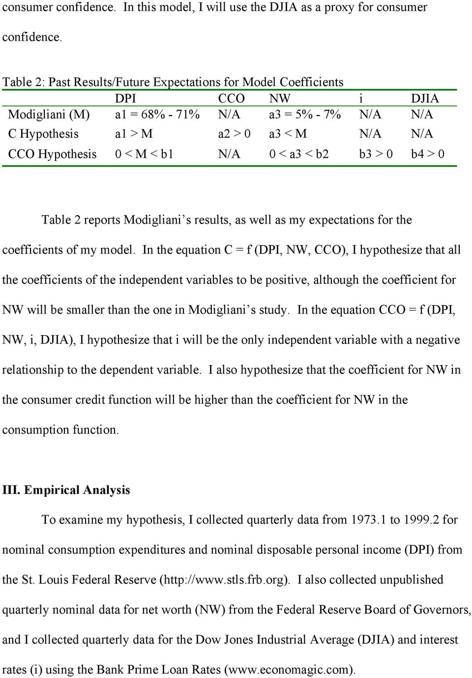 M < b1 N/A 0 < a3 < b2 b3 > 0 b4 > 0 Table 2 reports Modigliani s results, as well as my expectations for the coefficients of my model.
