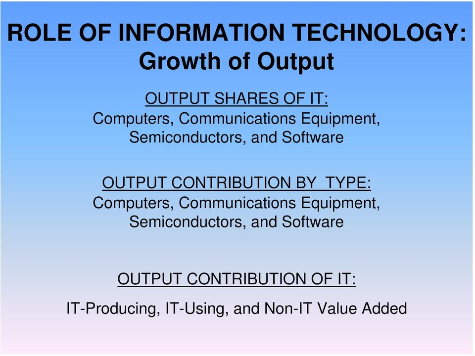 CONTRIBUTION BY TYPE:  CONTRIBUTION OF IT: IT-Producing, IT-Using, and
