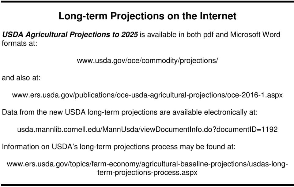 aspx Data from the new USDA long-term projections are available electronically at: usda.mannlib.cornell.edu/mannusda/viewdoc