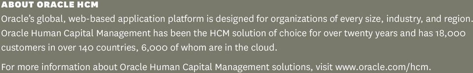 Oracle Human Capital Management has been the HCM solution of choice for over twenty years and has
