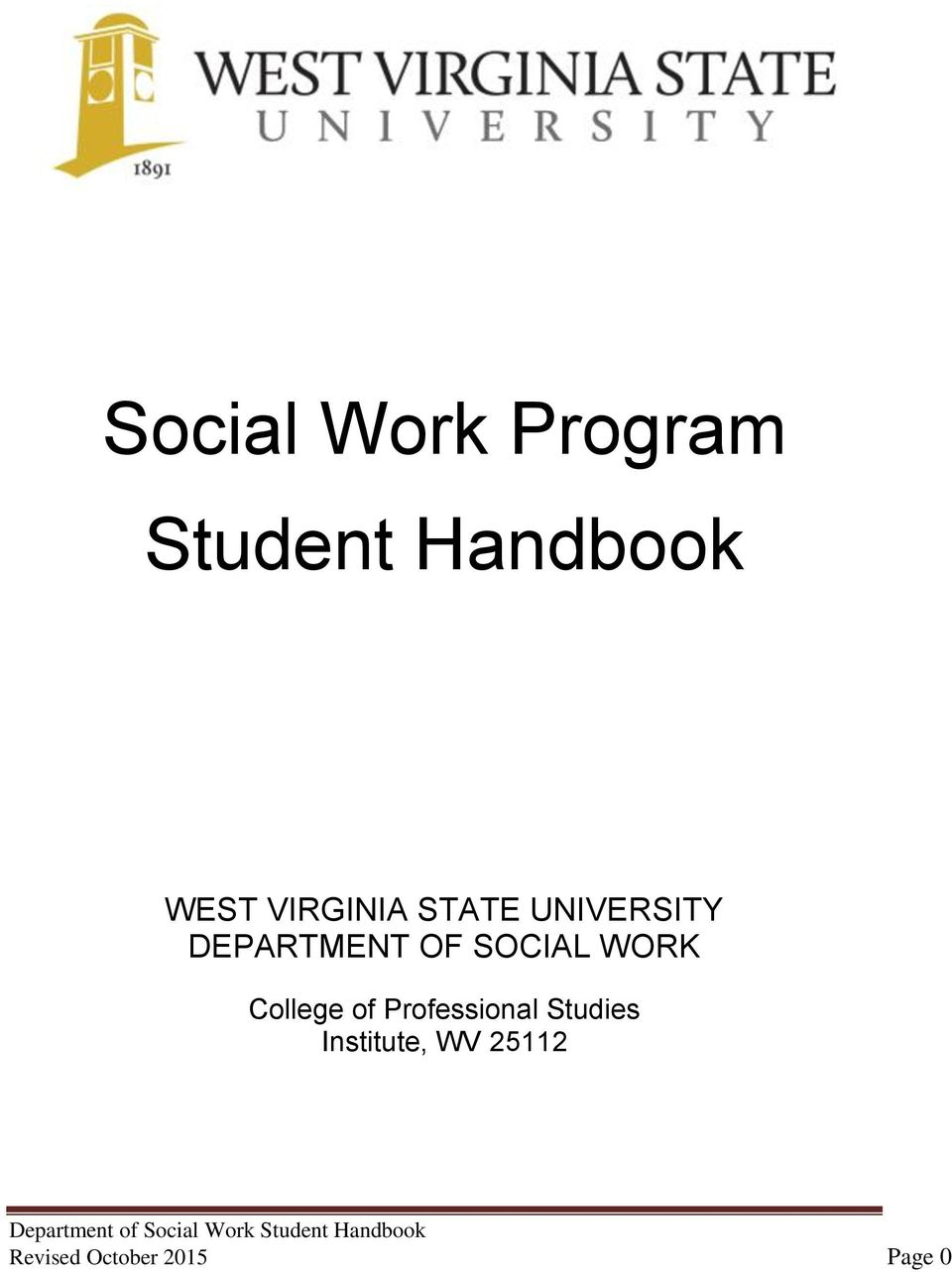SOCIAL WORK College of Professional Studies