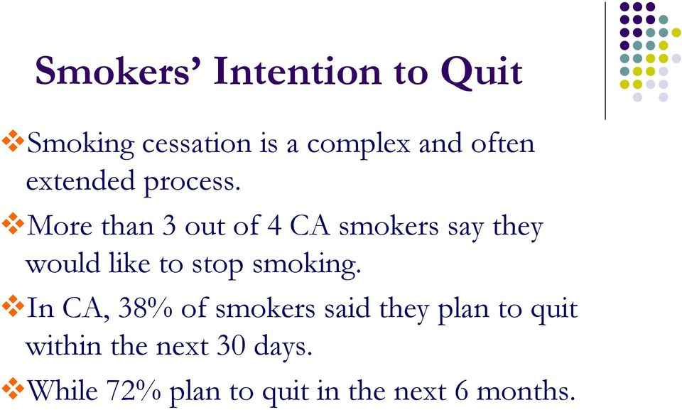 More than 3 out of 4 CA smokers say they would like to stop