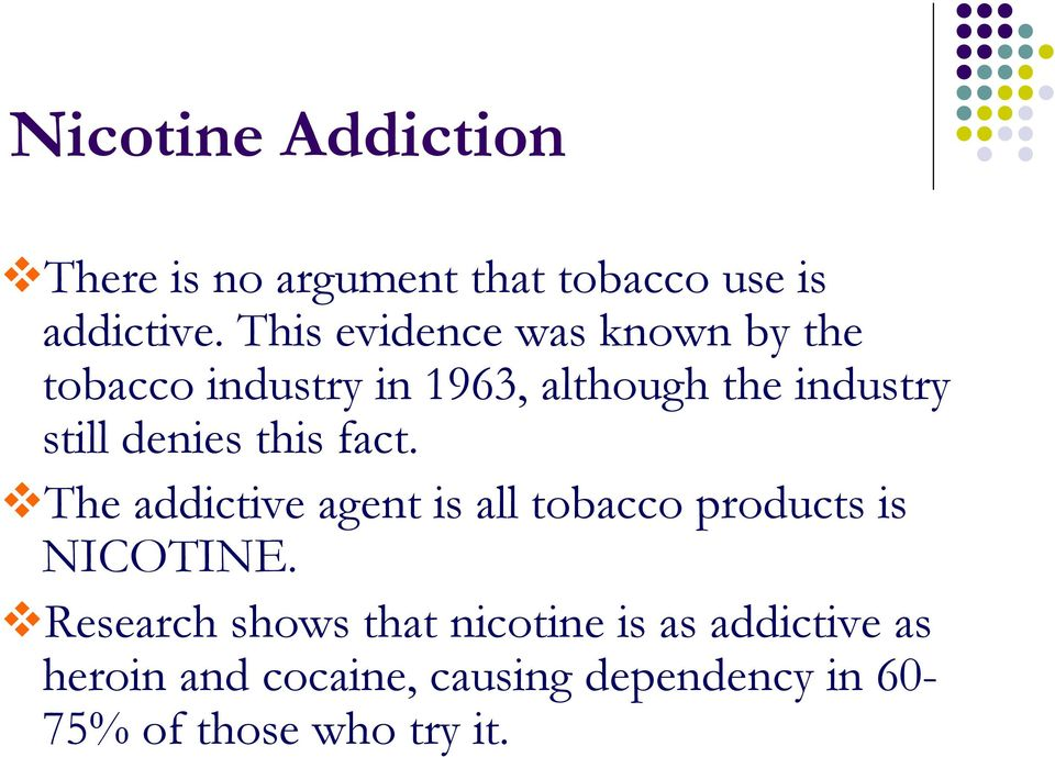 denies this fact. The addictive agent is all tobacco products is NICOTINE.
