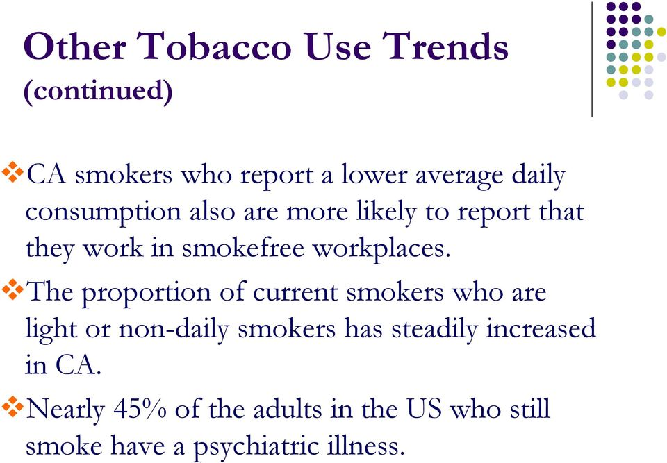 The proportion of current smokers who are light or non-daily smokers has steadily