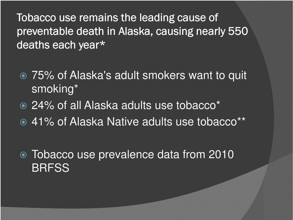 want to quit smoking* 24% of all Alaska adults use tobacco* 41% of