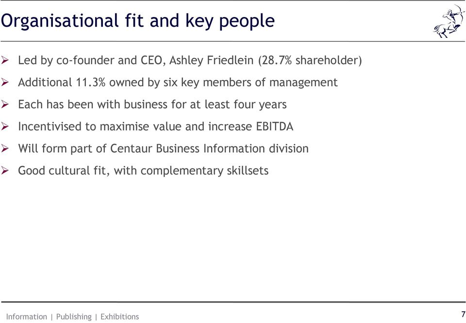 3% owned by six key members of management Each has been with business for at least four
