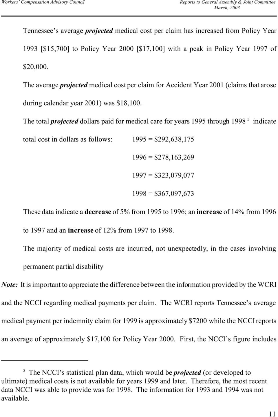 < The total projected dollars paid for medical care for years 1995 through 1998 5 indicate total cost in dollars as follows: 1995 = $292,638,175 1996 = $278,163,269 1997 = $323,079,077 1998 =