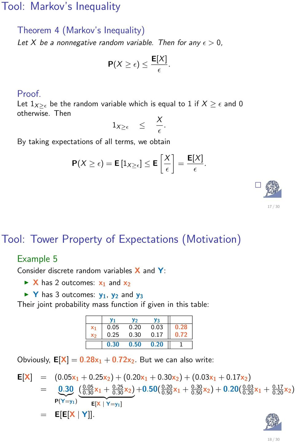 ɛ 17 / 30 Tool: Tower Property of Expectations (Motivation) Example 5 Consider discrete random variables X and Y: X has 2 outcomes: x 1 and x 2 Y has 3 outcomes: y 1, y 2 and y 3 Their joint