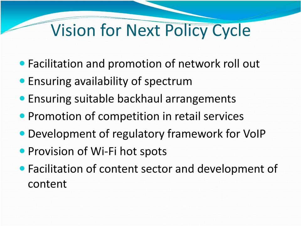 Promotion of competition in retail services Development of regulatory framework