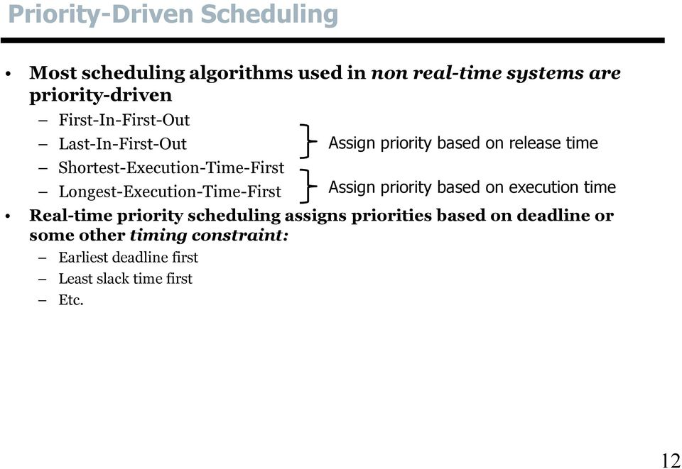 priority scheduling assigns priorities based on deadline or some other timing constraint: Earliest deadline