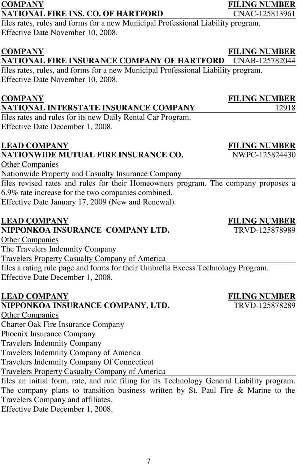 NATIONAL INTERSTATE INSURANCE 12918 files rates and rules for its new Daily Rental Car Program. LEAD NATIONWIDE MUTUAL FIRE INSURANCE CO.