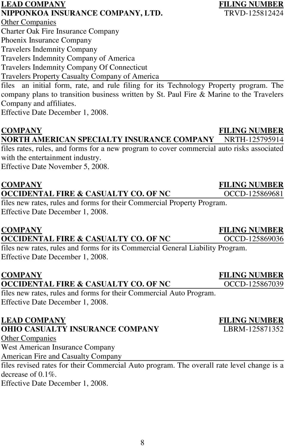 Property Casualty Company of America files an initial form, rate, and rule filing for its Technology Property program. The company plans to transition business written by St.