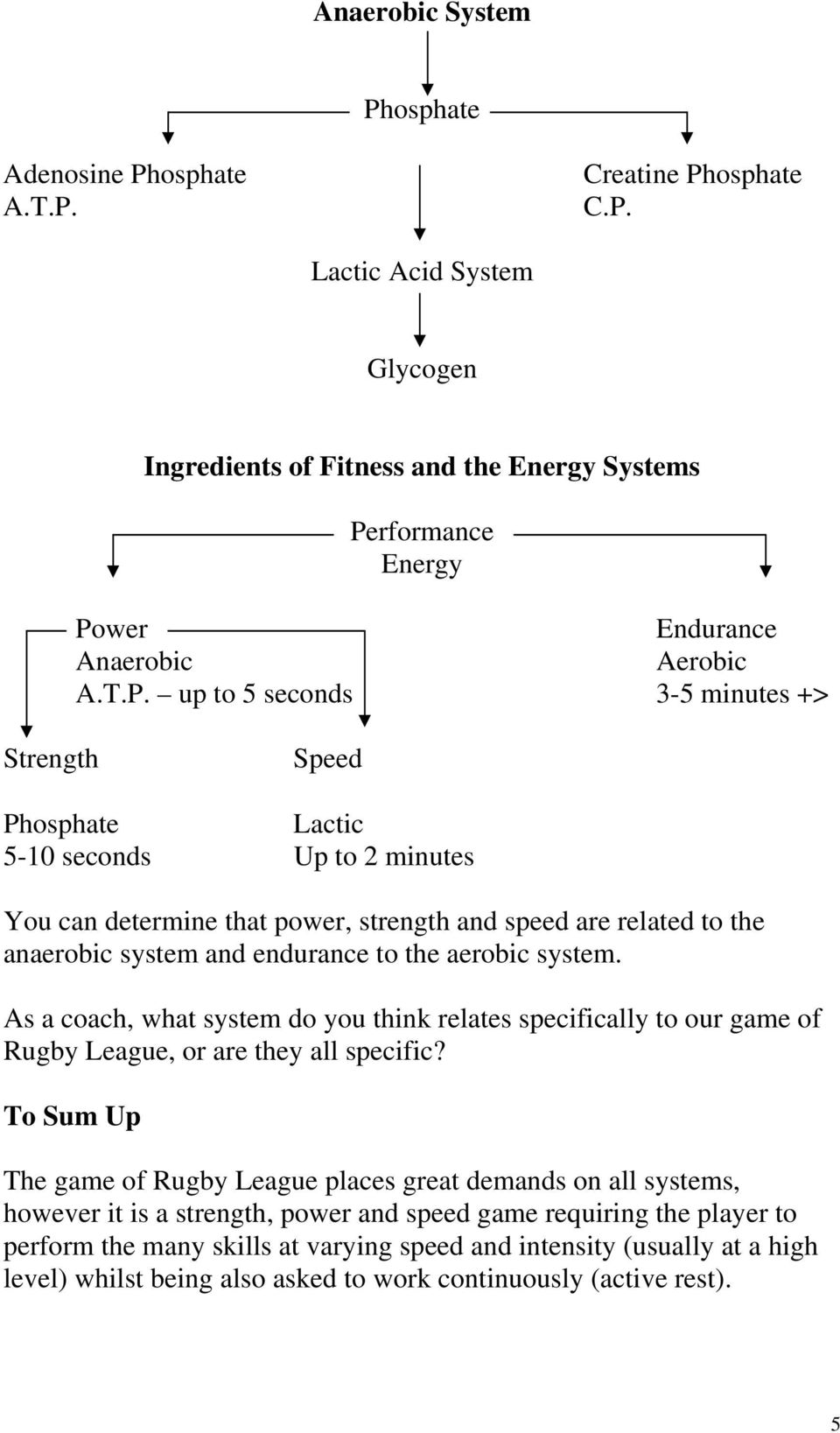 the aerobic system. As a coach, what system do you think relates specifically to our game of Rugby League, or are they all specific?