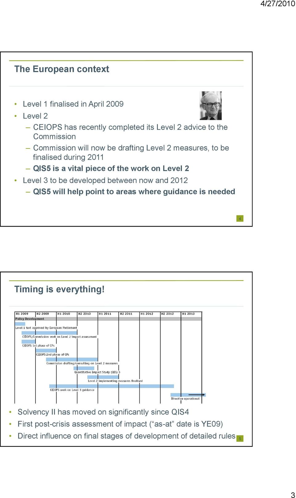between now and 2012 QIS5 will help point to areas where guidance is needed 4 Timing is everything!