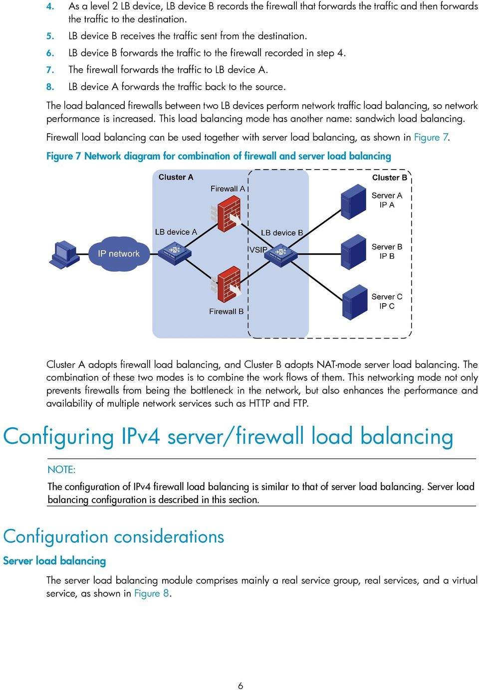 The load balanced firewalls between two LB devices perform network traffic load balancing, so network performance is increased. This load balancing mode has another name: sandwich load balancing.