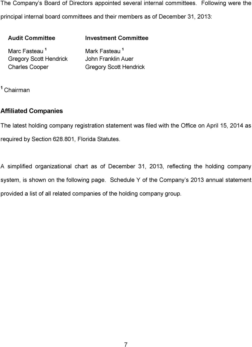 Hendrick John Franklin Auer Charles Cooper Gregory Scott Hendrick 1 Chairman Affiliated Companies The latest holding company registration statement was filed with the Office on April 15,