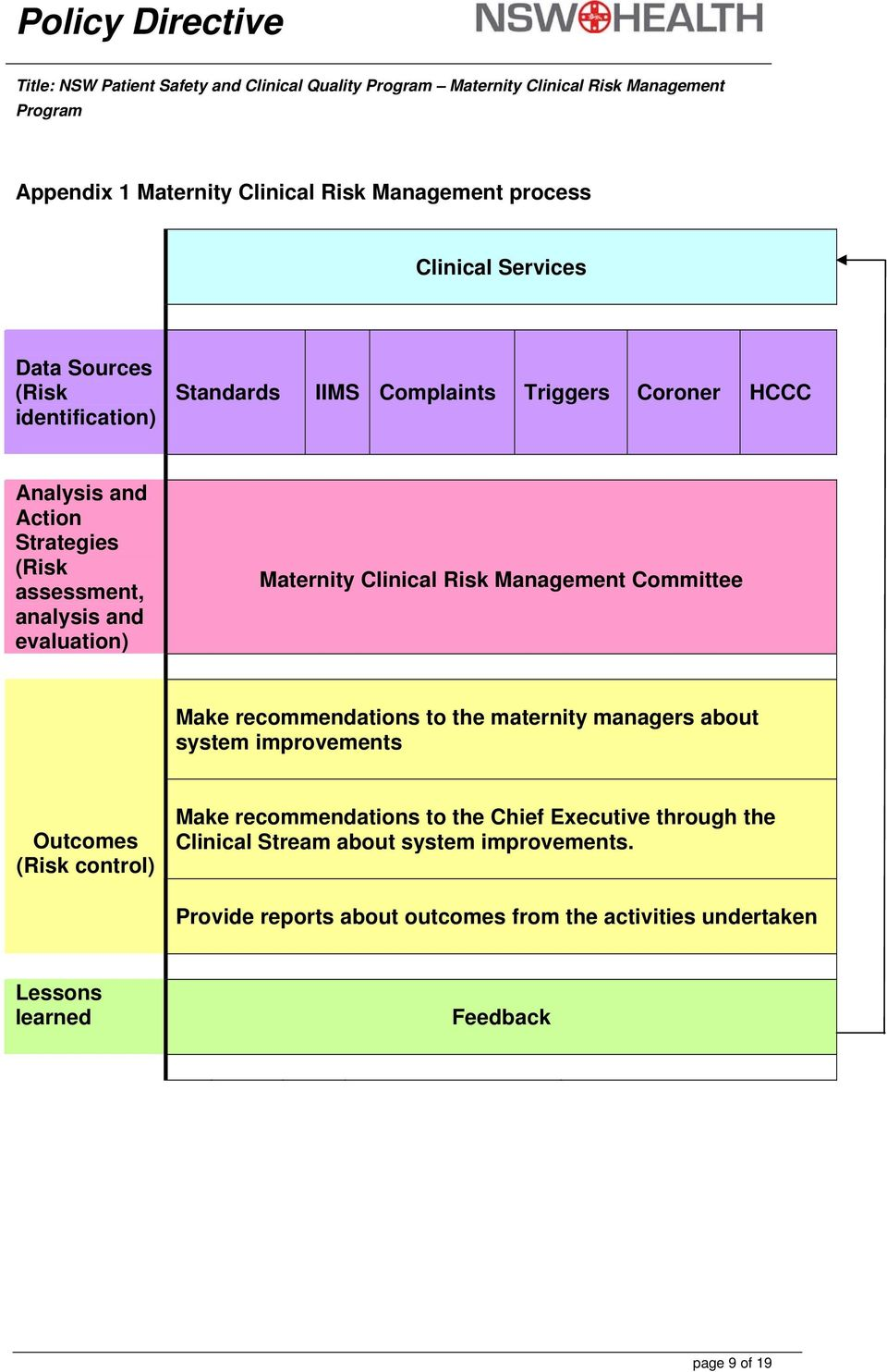 Clinical Risk Management Committee Make recommendations to the maternity managers about system improvements Outcomes (Risk control) Make recommendations to the
