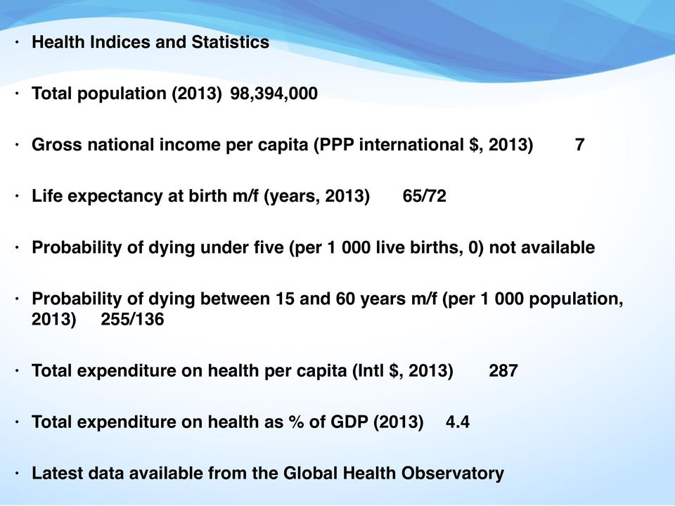 Probability of dying between 15 and 60 years m/f (per 1 000 population, 2013) 255/136 Total expenditure on health per capita