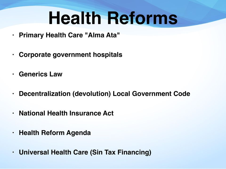 (devolution) Local Government Code National Health