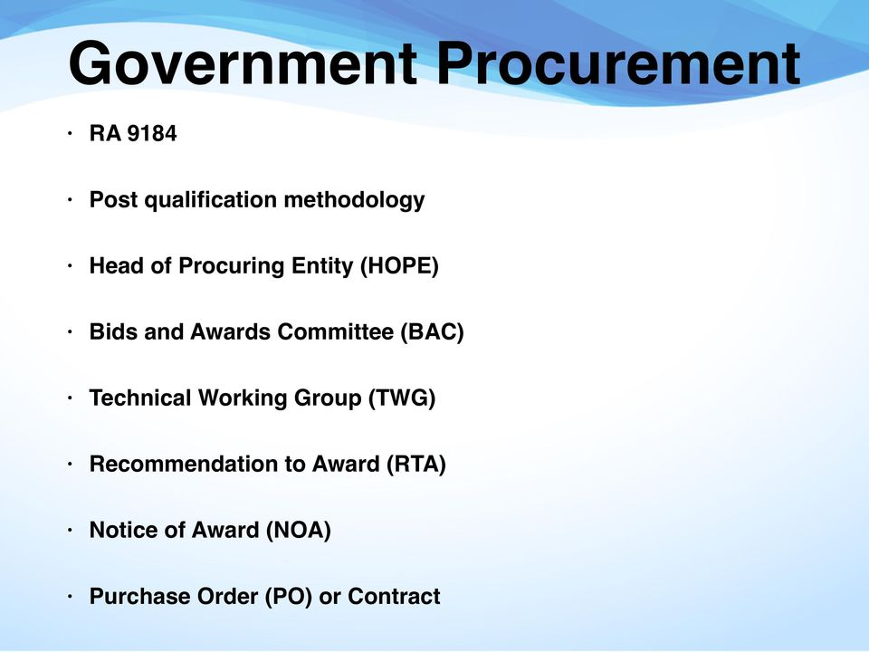 Committee (BAC) Technical Working Group (TWG)