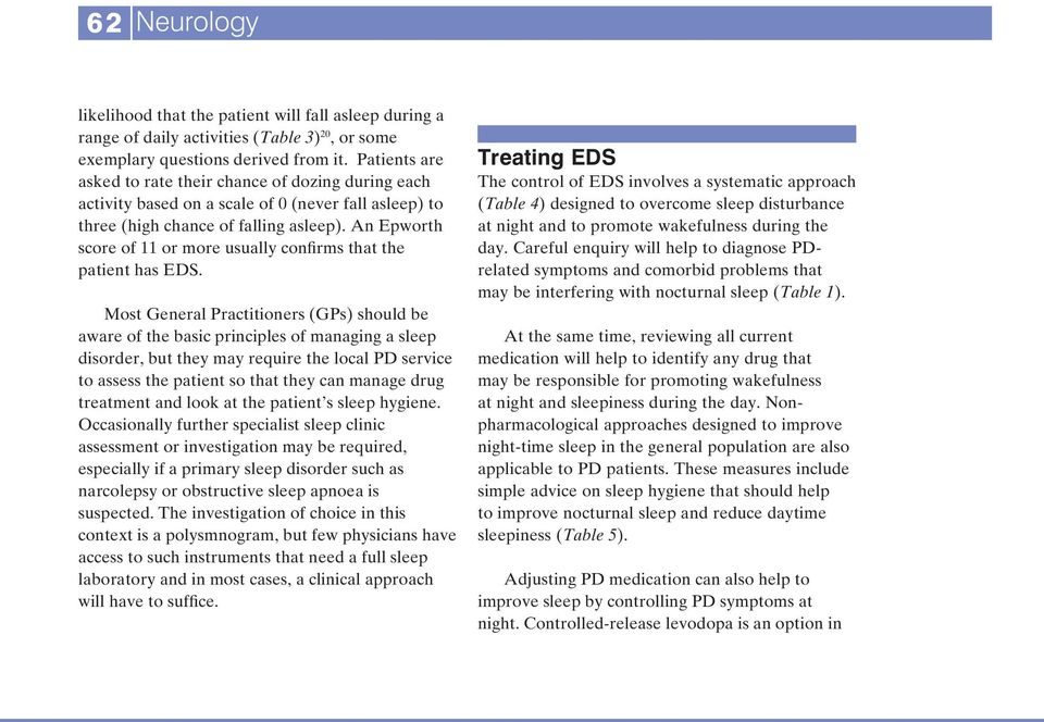 An Epworth score of 11 or more usually confirms that the patient has EDS.
